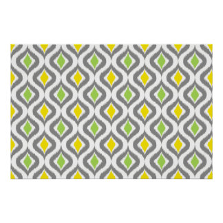 Yellow Gray Green Retro Chic Ikat Drops Pattern Poster