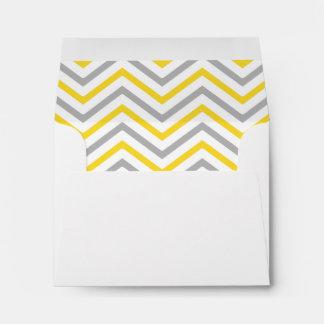 Yellow Gray Grey Chevron Lined Envelope