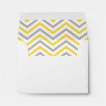 Yellow Gray Grey Chevron Lined Envelopes