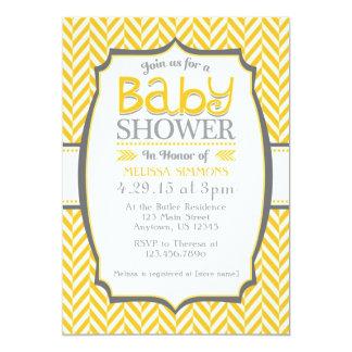 Yellow Gray Herringbone Baby Shower Invitations