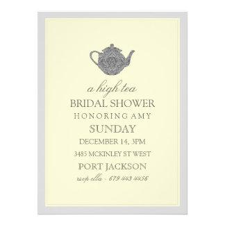 Yellow & Gray High Tea Bridal Shower Invitation