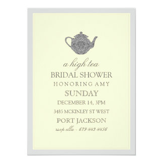 Yellow & Gray High Tea Bridal Shower Invitation