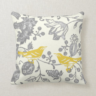 Yellow Gray Ivory Vintage Floral Bird Pattern Pillow