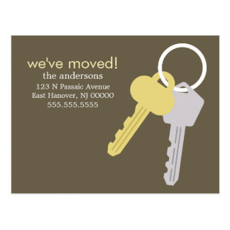Yellow Gray Key Set Moving Announcements Postcard