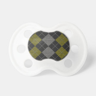 Yellow & Gray Knit Argyle Pattern Baby Pacifier