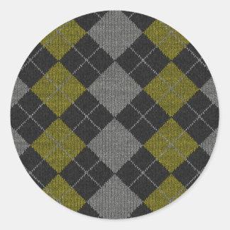 Yellow & Gray Knit Argyle Pattern Classic Round Sticker