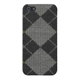 Yellow & Gray Knit Argyle Pattern Cover For iPhone SE/5/5s