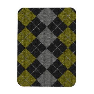 Yellow & Gray Knit Argyle Pattern Magnet