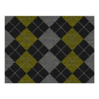 Yellow & Gray Knit Argyle Pattern Poster