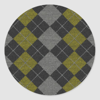 Yellow & Gray Knit Argyle Pattern Round Stickers