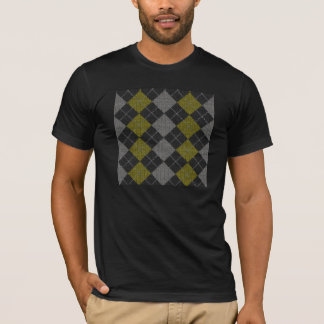 Yellow & Gray Knit Argyle Pattern T-Shirt