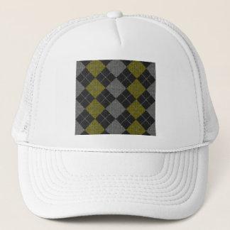 Yellow & Gray Knit Argyle Pattern Trucker Hat