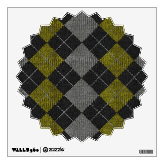Yellow & Gray Knit Argyle Pattern Wall Sticker