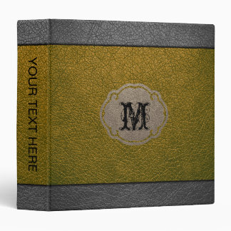 Yellow Gray Leather 3 Ring Binder