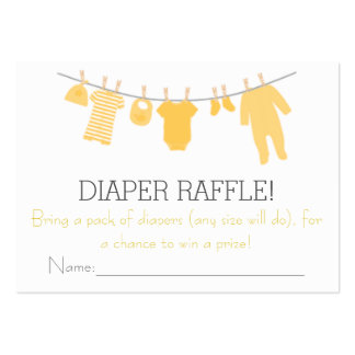 Yellow & Gray Little Clothes Diaper Raffle Tickets Large Business Cards (Pack Of 100)