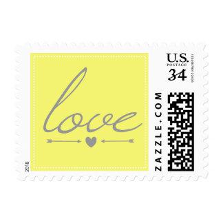 Yellow & Gray Love Stamp