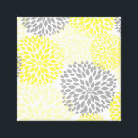 """Yellow Gray modern dahlia blossoms wall art<br><div class=""""desc"""">This design can be found on many coordinating items in our shop.  Contact the designer to request CUSTOM COLORS!</div>"""
