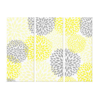 Yellow And Gray Wall Art yellow grey wall wrapped canvas prints | zazzle