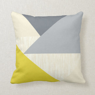 Yellow Gray Modern Geometric Pattern Pillow