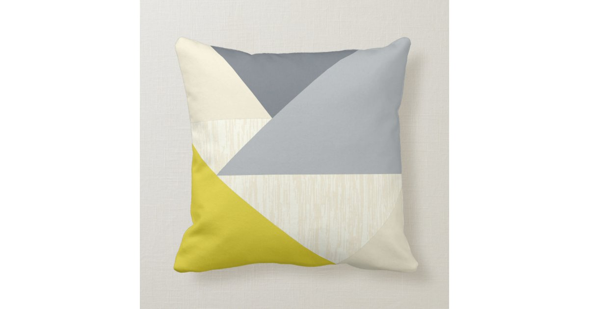Yellow Gray Modern Geometric Pattern Pillow Zazzle