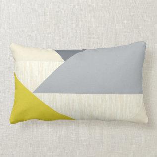 Yellow Gray Modern Geometric Pattern Pillow at Zazzle
