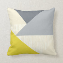 Yellow Gray Modern Geometric Pattern Pillow