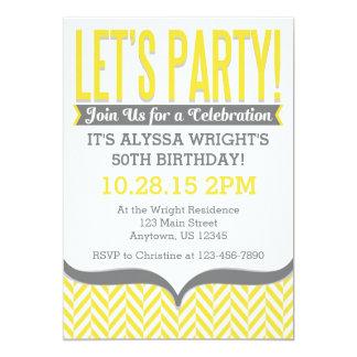 Yellow Gray Modern Herringbone Birthday Invitation