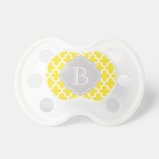 Yellow & Gray Modern Moroccan Custom Monogram Pacifier