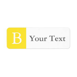 Yellow & Gray Monogrammed Labels or Gift Tags Return Address Label