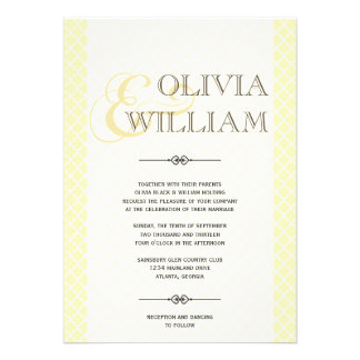 Yellow gray Moroccan tile ampersand modern wedding Card