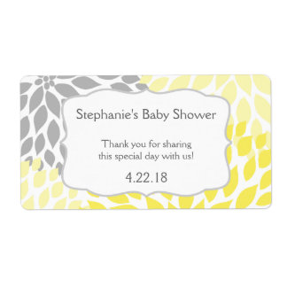 Yellow Gray Mums Water Bottle Favor Label