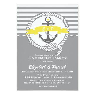 Yellow & Gray Nautical Engagement Party Invitation