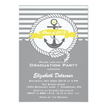 Beach Themed Yellow & Gray Nautical Graduation Party Invitation