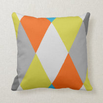 Yellow Gray Orange Blue Modern Geometric Pattern Throw Pillow