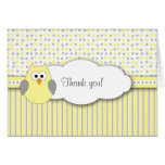 Yellow Gray Owl Mod Baby Shower Thank you note Greeting Card