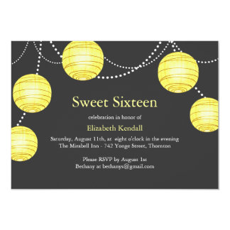 Yellow & Gray Party Lantern Sweet 16 Invitation