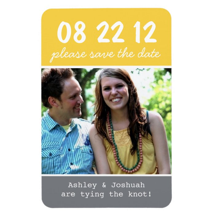 Yellow & Gray Photo Save The Date Magnet