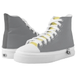 Yellow  Gray Plain Solid High-Top Sneakers