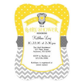 Yellow Gray Polka Dot Chevron Baby Shower Invite
