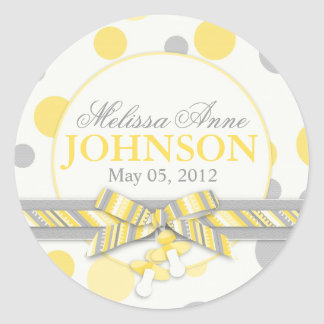 Yellow & Gray Polka Dots Announcement Classic Round Sticker