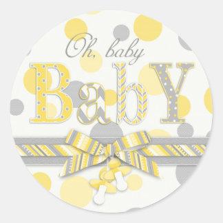 Yellow & Gray Polka Dots Baby Shower Classic Round Sticker
