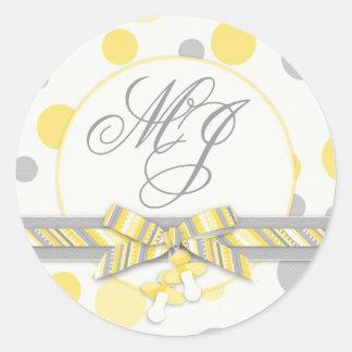 Yellow & Gray Polka Dots Monogram Classic Round Sticker
