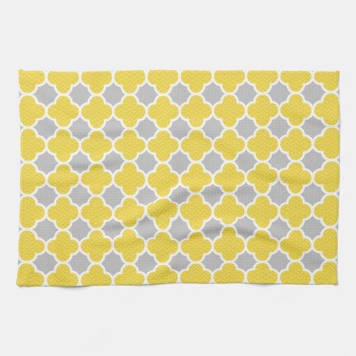 Yellow Amp Gray Quatrefoil Geometric Pattern Hand Towel Zazzle