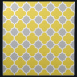 "Yellow &amp; Gray Quatrefoil Geometric Pattern Napkin<br><div class=""desc"">Modern yellow and grey quatrefoil design with a little bit of chevron pattern in yellow areas.</div>"