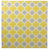 Yellow & Gray Quatrefoil Geometric Pattern Napkin