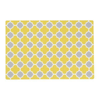 Yellow & Gray Quatrefoil Geometric Pattern Placemat