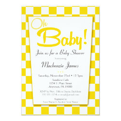 Yellow Gray Retro 50s Diner Baby Shower Invitation
