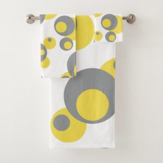 Yellow and Gray Bath Towels