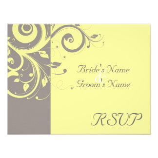 Yellow Gray Reverse Swirl Wedding Matching RSVP Personalized Invitation