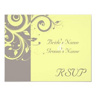 Yellow, Gray Reverse Swirl Wedding Matching RSVP Personalized Invitation